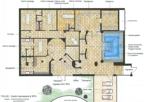 Progetto e realizzazione spa tolive sport a roma for Piccole planimetrie della cabina avvolgono il portico